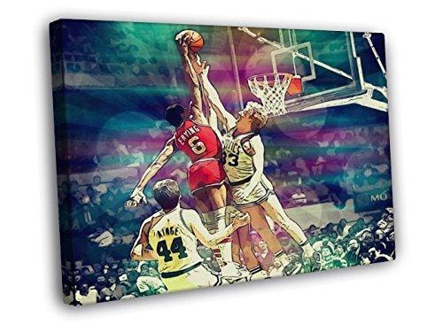 Julius Erving Dunk on Larry Bird Awesome Vintage Retro Painting Pop Art Sixers vs Celtics Dr. J 76ers Basketball 30x20 Framed Canvas Print by (Larry Bird Dunk)