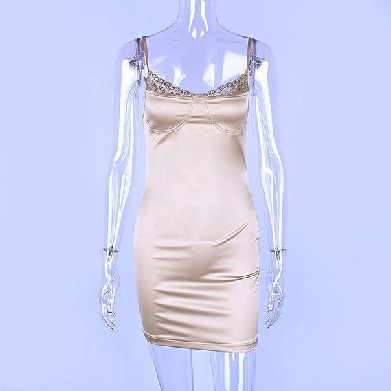 e1b27b956ab5f Fainosmny Womens Dress Sexy Sling Dress Backless Tunic Dress Sexy Hollow  Lace Straplesss Dress Slim Bodycon Party Dress at Amazon Women s Clothing  store