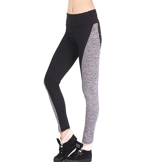 c5c6be67e8085 Saitingdianzi Women Gray&Black High Waist Sports Trousers Gym Workout  Fitness Yoga Leggings Pants Bottompants (Black