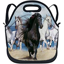 oFloral Horse Insulated Neoprene Lunch Bag Tote Beautiful Horse Pictures Black And White Lunchbox Backpack With Shoulder Strap For Boys Girls Women Blue Black White