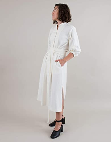 00ea31809a787 Image Unavailable. Image not available for. Color  Women s Long Sleeve  Button Up Belted Pleated Off White Linen Dress