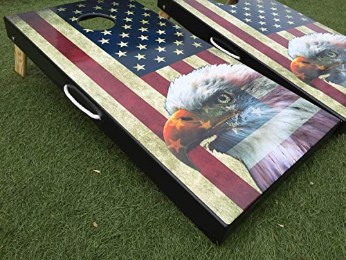 American Flag and Eagle Cornhole Board Set