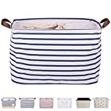 DOKEHOM 15' Large Storage Basket (5 Colors, 15' and 17'), Drawstring Square Cotton Linen Collapsible Toy Basket (Blue Strips, M)