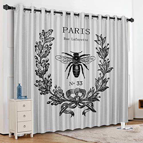 KAROLA Blackout Curtains Window Treatments for Living Room/Bedroom Room Darkening Grommet Drapes and Curtains,Rue Lafayette bee No 33 52