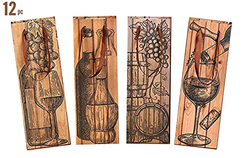 12 Azi Excellent Quality Wine Gift Bags -Fits Most Popular Wine Bottles Spirits Liquor Champagne Rustic Tuscan Chic Wood Barrel Design All Occasions Party Holiday Anniversary Birthday Housewarming