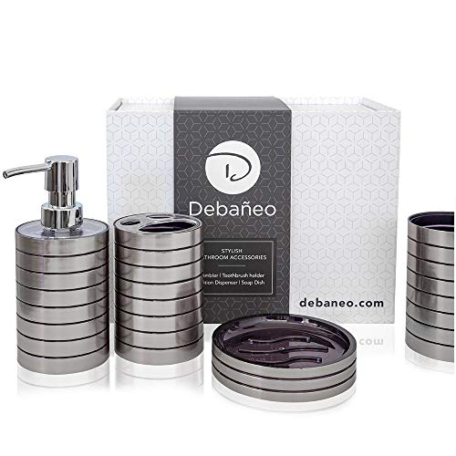 Debaneo Bathroom Accessory Set (Silver) Modern 4 Piece Bathroom Accessories Set Complete Bathroom Set