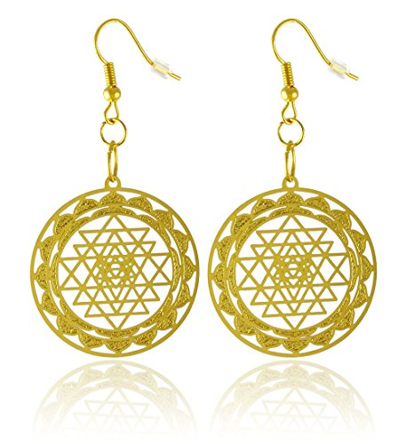 Women's Gold-Plated Brass Shree Yantra Earrings with Cut Out Design