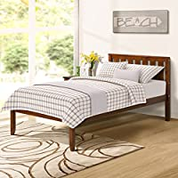 "Harper Bright Designs 12"" Deluxe Wood Platform Bed with Headboard/Wood Slat Support/No Box Spring Nedded Twin (Walnut)"