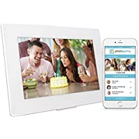 PhotoSpring (32GB) 10in WiFi Digital Photo Frame + Album for Videos & Pictures, Touch Screen, Battery, iPhone & Android App, HD Screen, White - 32,000 photo capacity