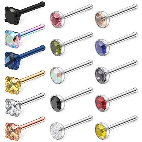 Hoeudjo 18G Surgical Steel Mix Color Diamond CZ Nose Stud Rings Bone Nostril Pin Piercing Jewelry for Women Men 3mm 16PCS Silver Rose Gold Black -