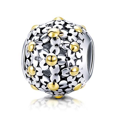 - BAMOER Charm 925 Sterling Silver Poetic Daisy Flower Heart Enameled CZ Solid Charms Beads for DIY Bracelet Accessories