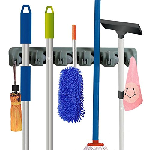 IBeaty Brush Broom and Mop Broom Holder 5 Ball Slots and 6 Hooks Storage Tidy Organiser Wall Rack Wall Mounted Garden Tool Storage Tool Rack Storage & Organization for garage shelving ideas (Adhesive Mop And Broom Holder compare prices)