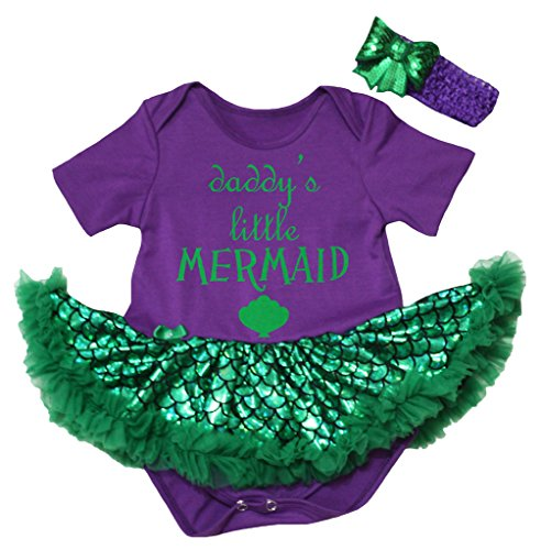 [Petitebella Daddy's Little Mermaid Purple Bodysuit Green Scale Tutu Nb-18m (12-18 Months)] (Little Mermaid Tutu Dress)