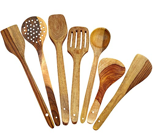 - ITOS365 Handmade Wooden Spoons Cooking & Serving Utensil-Set (7-Pieces) Kitchen Tools, Set of 7