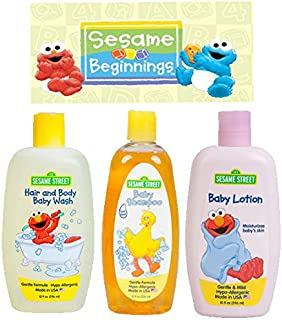 Sesame Street New Beginnings 3 Pc. Bundle Baby Care Gift Set - Includes: Body