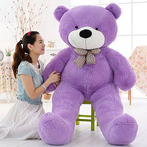 Giant Teddy Bear Plush Stuffed Animals Gifts For Girlfriend Baby Children With Tie Purple 55 inch