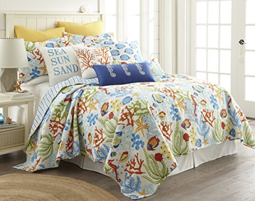 Portofino Comforter Set - Levtex Portofino Twin Cotton Quilt Set, Blue, Green, Multi, Coastal