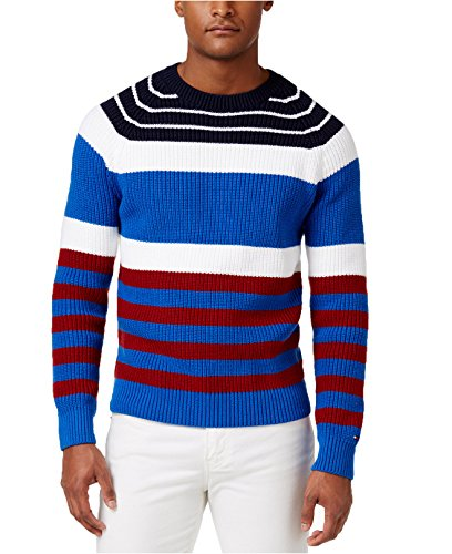 Tommy Hilfiger Men's Brent Striped Crew-Neck Cotton Sweater (Large, Nautical Blue Multi) by Tommy Hilfiger