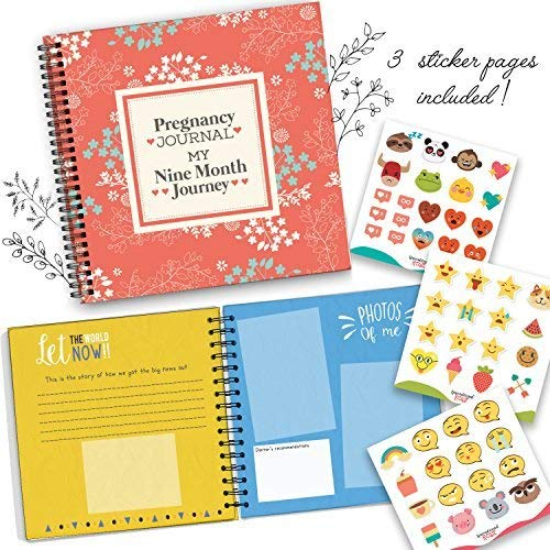 My Nine Month Journey Pregnancy Journal and Baby Memory Book with Stickers - Baby Scrapbook and Photo Album - Perfect Pregnancy Gifts for First Time Moms - Picture and Milestone Books for Toddlers ()