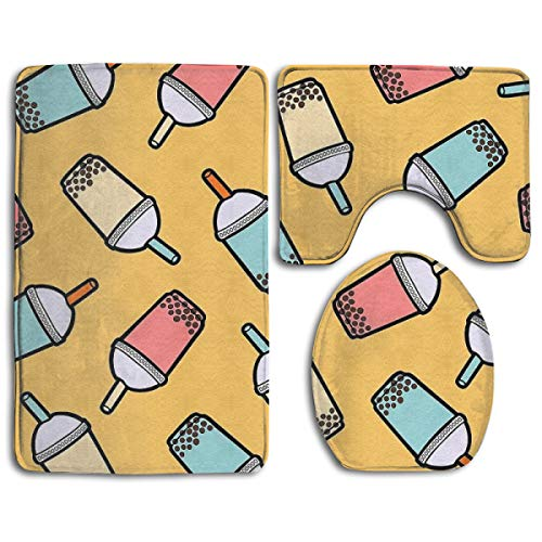 Bubble Tea Bathroom Rug Sets 3 Piece Non-Slip Floor Mat Contour Rug Toilet Lip Cover]()