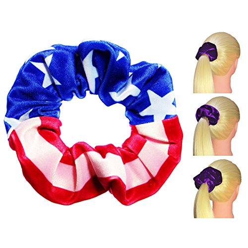 American Flag Velvet Scrunchies Premium Plush Soft Ponytail Holders Scrunchie King Made in USA