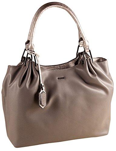 PICARD Allora 2467 Shopper Tasche Damen Schultertasche Handtasche 38x30x13 cm (BxHxT), Farbe:Chestnut Graphit-kombi