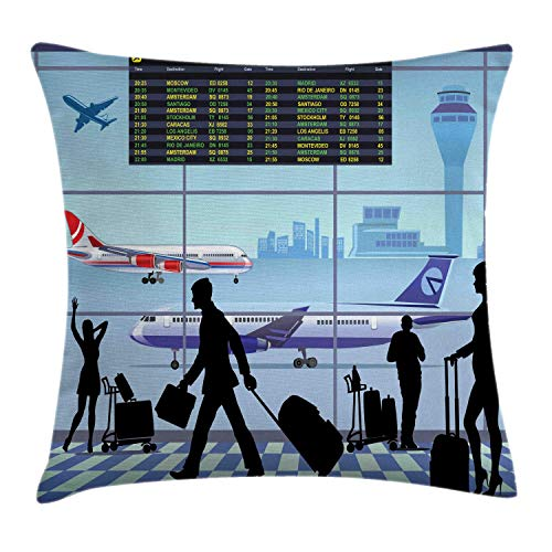 NBTJZT Airport Throw Pillow Cushion Cover, Planes and Flight Board with Silhouette of Passenger People Terminal Cartoon,Pillowcase 18X18 Inch, Multicolor
