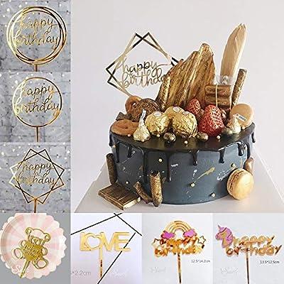 Decoración para tarta de cumpleaños con diseño de unicornio ...