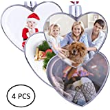 MuYu Store Clear Plastic Christmas DIY Heart Shape Ornament - Pack of 4 (70mm)