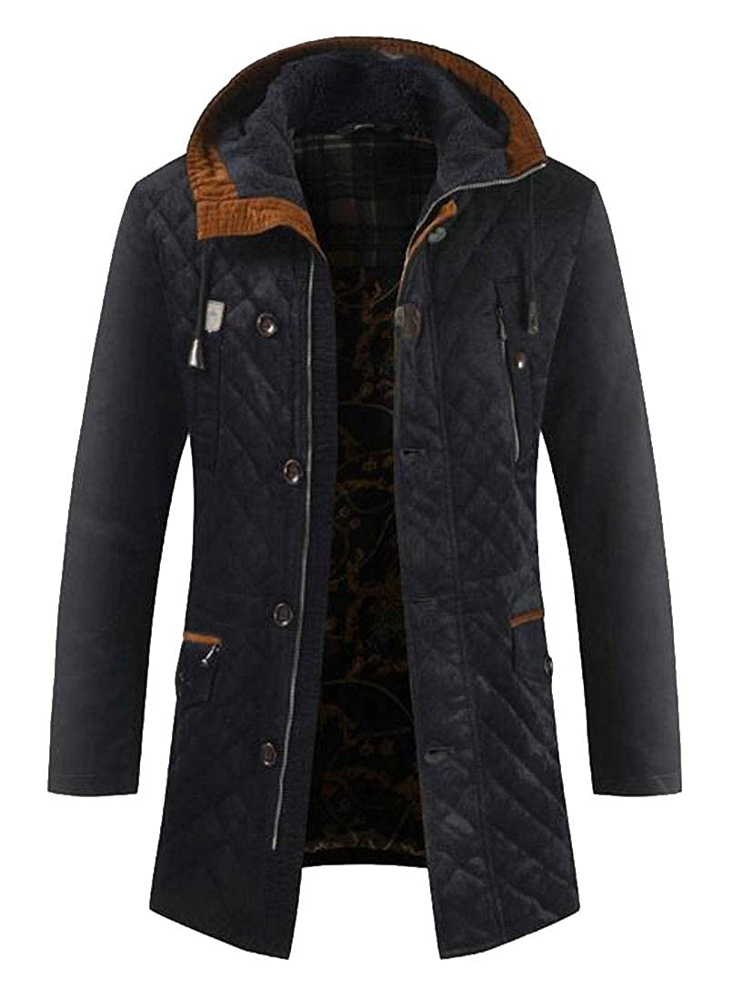 Sweatwater Mens Hooded Thick Overcoat Quilted Winter Parkas Coats Jacket