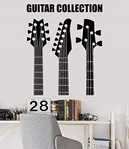 57x69cm,Wall Stickers for Classroom,Wall Tattoo Art, Applique Guitar Collection Store Musical Instrument - Bathroom Mirrors Nightclub