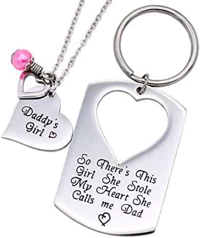 O.RIYA Gifts for Dad Necklace Jewelry, Father Daughter Keychain Jewelry, Daddys Girl Birthday Necklace Set, There's This Girl Who Stole My Heart She Calls Me Daddy