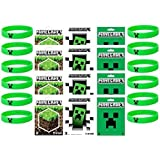Minecraft Party Bag Fillers with 12 Official Minecraft Creeper Wristbands and 12 Official Mine Craft Stickers