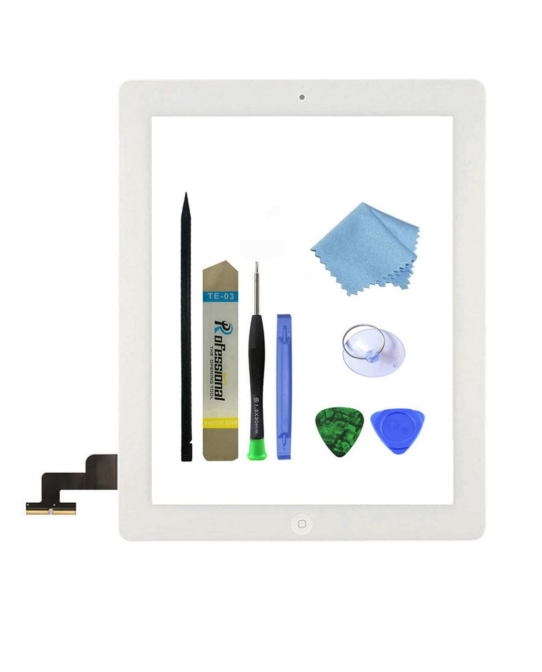 Zentop White iPad 2 Screen Replacement,iPad 2 (2nd Generation) A1395 A1396 A1397 Touch Screen Glass Digitizer Includes Home Button,Camera Holder,Frame Bezel,Preinstalled Adhesive and Tool Kit.