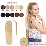 100% Real Human Hair Ponytail Extension 14 Inches One Piece Wrap Around Hairpiece With Comb Binding Pony Tail Extension Long Straight For Girl Lady Women #613 Bleach Blonde 14'' 70g