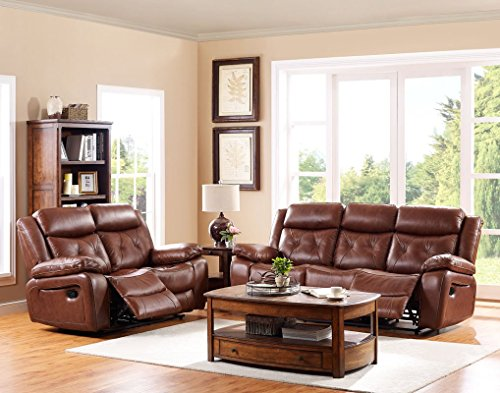 Belfast Dual Power Motion Recliner Sofa & Loveseat & Std Power Recliner in Light Brown