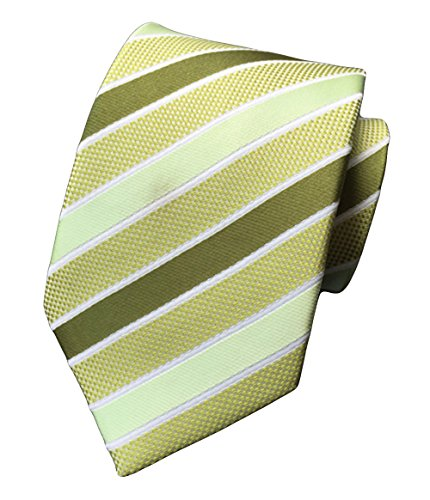Green Stripe New Designer Necktie (MENDENG New Men's Striped Silk Tie Business Wedding Necktie,Green,One Size)