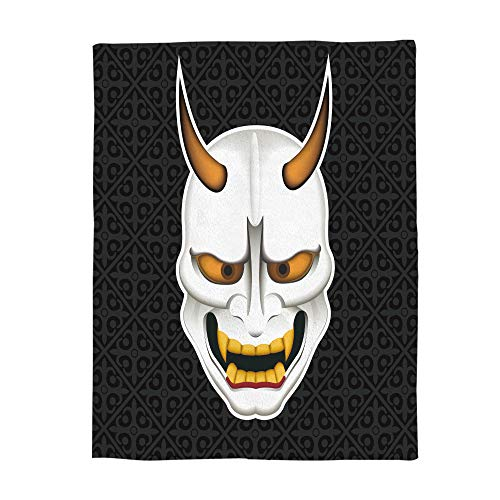 Luxury Flannel Fleece Throws Blanket Super Soft Warm Fuzzy Plush Microfiber Lightweight All Season Blankets for Bed/Couch, Halloween Japanese Ghost Mask - Travel 40