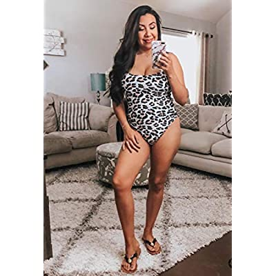 CinShein Women's Bikini High Cut Leopard Print One Piece Monokini Swimsuits Backless Thong Bathing Suits at Women's Clothing store