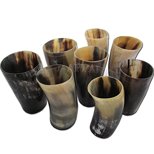 Original Buffalo Ox Horn Beer Mug Drinking Glass Wholesale Set of 8 by La vivia