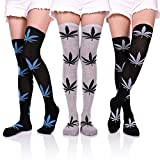 YEBING 3 Pack Women Girls Knee High Cotton Socks Boot Thigh High Stocking Leg Warmer (3 Pack Leaf)