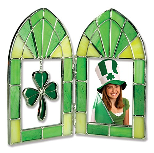 (BANBERRY DESIGNS Stained Glass Irish Picture Frame - Green Shamrock Charm - Irish Wedding Picture Frame - Ireland Vacation)