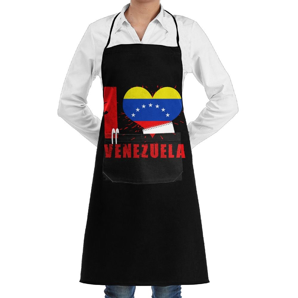 I Love Venezuela Cooking Kitchen Aprons With Pockets Bib Apron For Cooking, Baking, Crafting, Gardening, BBQ