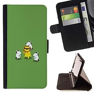For Samsung ALPHA G850 - Funny Cute Horses Playing /Funda de piel cubierta de la carpeta Foilo con cierre magn???¡¯????tico/ - Super Marley Shop -