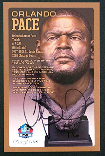 (PRO FOOTBALL HALL OF FAME Orlando Pace NFL Bronze Bust Set Card Signed Autograph (Limited Edition #105 of 150))