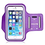 Sports Armband, Ailkin Running Sports Armband for iPhone 7 plus/6s Plus / iPhone 6 Plus, Samsung Galaxy Note 5 / S6 Edge+,Key holder Slot, Perfect Earphone Connection, PURPLE (Compatible with Cellphones up to 5.7 Inch)