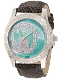 Womens Kalypso Swiss Quartz Stainless Steel and Leather Dress Watch, Color:Brown