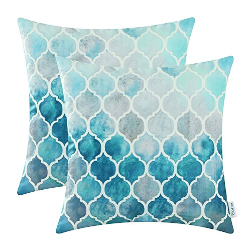 Pack of 2 CaliTime Cozy Throw Pillow Cases Covers for Couch Bed Sofa, Manual Hand Painted Colorful Geometric Trellis Chain Print, 18 X 18 Inches, Main Grey Teal