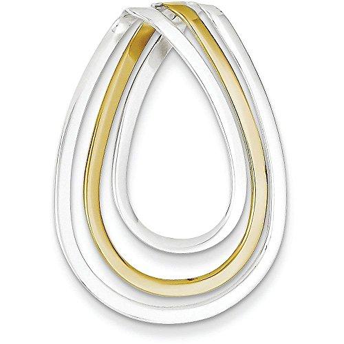 Sterling Silver & Vermeil Fancy Pendant - (1.42 in x 0.94 in) Vermeil Fancy Pendant