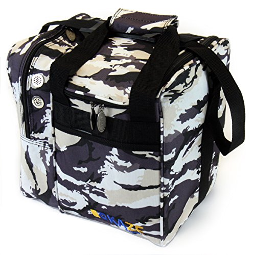 (KAZE SPORTS Deluxe Single Ball Bowling Tote Bag, Snow Camo)